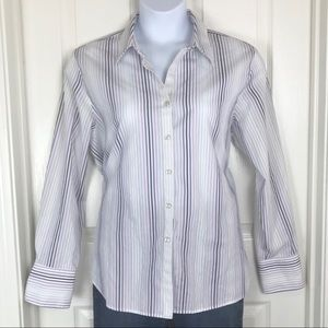 Foxcroft Wrinkle Free Striped Button Up Shirt 18